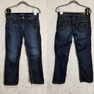 Silver Suki Dark Wash Mid Rise Capri Jeans